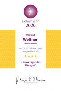 """Eichelmann 2020 """"…Sylvaner spielt die Hauptrolle im Betrieb, und das zeigt schon der Guts-Sylvaner, der noch nie so prächtig war wie im Jahrgang 2018….ein toller Wein!"""""""
